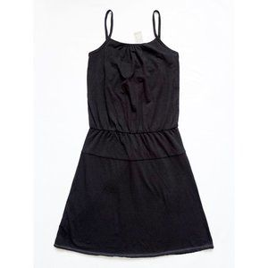 Adjustable Strap Elastic Waist Tiered Black Dress
